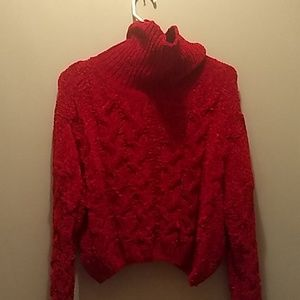 cropped red sweater